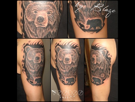 Bear Tattoo By Blaze Black Grey Shoulder