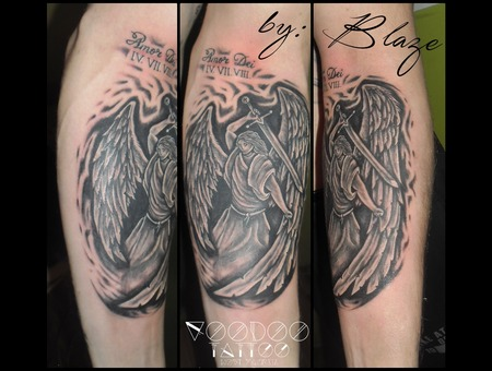 Angel Tattoo By Blaze Black Grey Arm