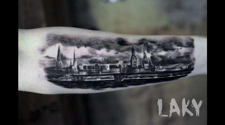 Riga  Rigatattoo  Riga Tattoo  Tattoo  City   Black Grey Forearm