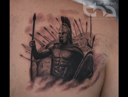 Spartan  Tattoo  By  Zoran  Realistic  Movie  300 Black Grey Back