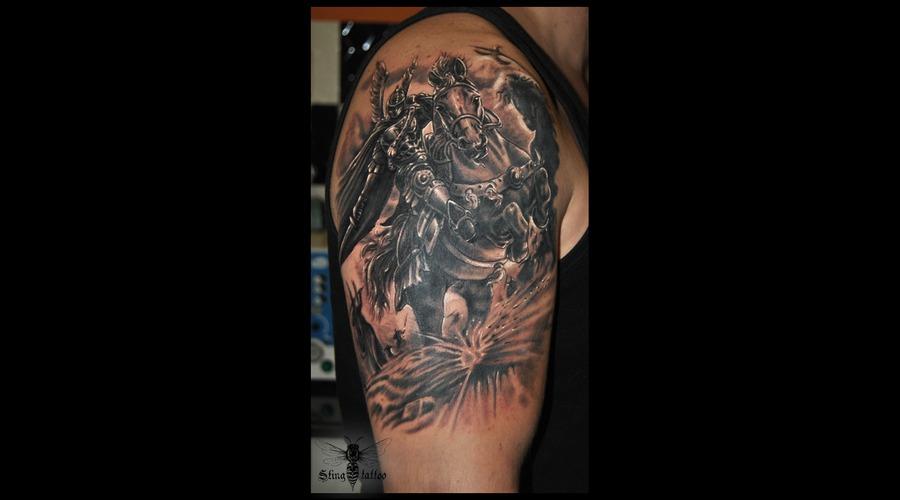 Warrior Horse Battle Black Grey Arm