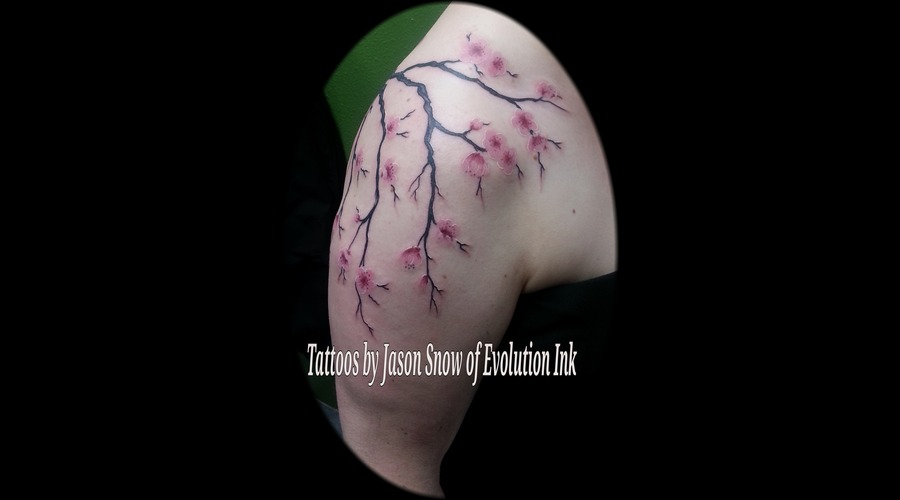 Realism  Cherry Blossoms Color Shoulder