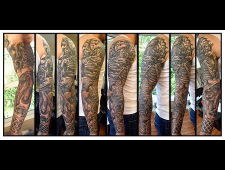 Skull  Celtic  Sleeve Black Grey Arm