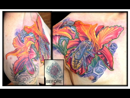 Bee  Color  Flower  Realism  Cover Up Color Chest
