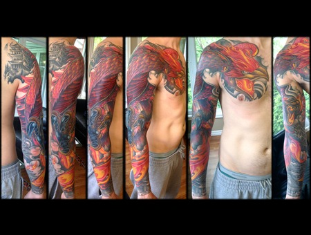 Full Sleeve Cover Up  Pheonix  Japanese  Pagoda  Fire Color Arm