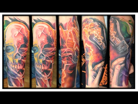 Sleeve  Color  Skull  Lightbulb  Filament  Realism Color Forearm