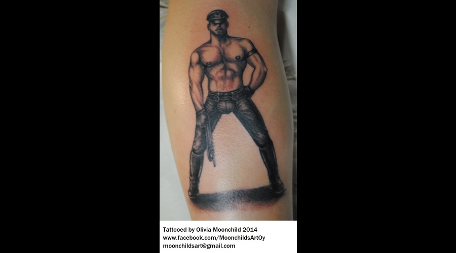 #Tom Of Finland Black Grey Lower Leg