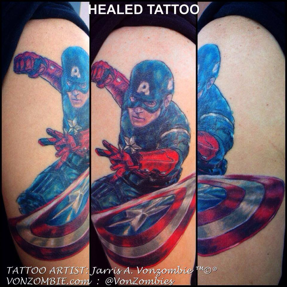 Jarris a vonzombie certified artist for Marvel sleeve tattoo black and white