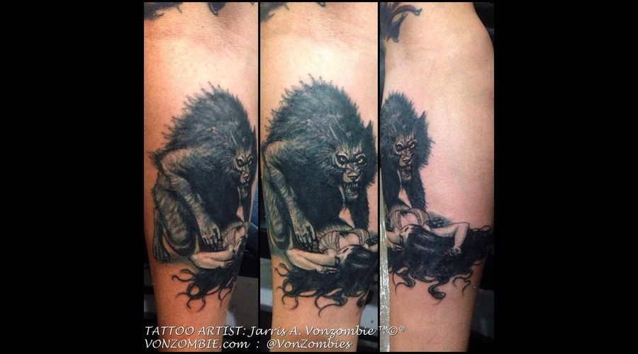 Black  Grey  3d  Realism  Illustraive  Werewolf  Horror Black Grey Forearm