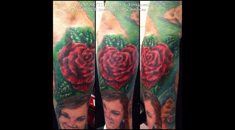 Heart  Rose  3 D  Realism Color Forearm