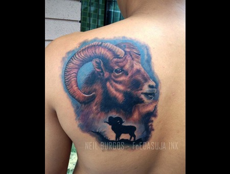 Realism  Ram  Capricorn  Goat  Neil Burgos Tattoo Color Back