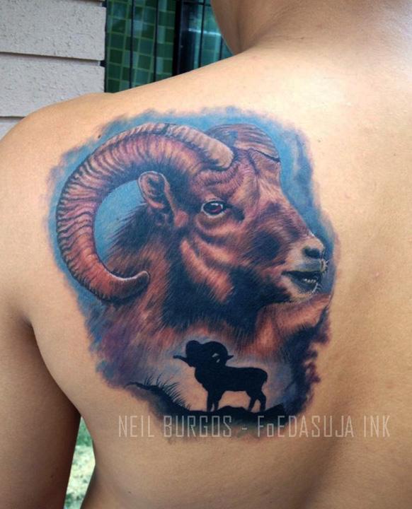 Neilburgos foedasuja ink certified artist for Capricorn goat tattoo