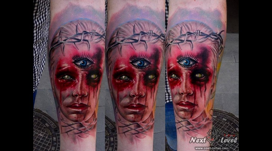 Horror Tattoo  Face Blood   Color Forearm