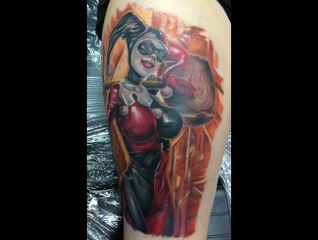 Harley Quinn  Joker  Batman  Comics  Pinup  Girly Color Thigh