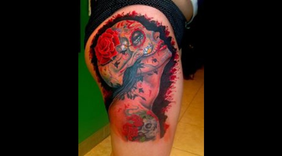 Portrait  Realism  Realistic  Girl  Pinup  Sugar Skull  Muertos Color Thigh