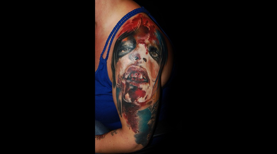 Tattoo  Portrait  Realism  Blood Color Arm