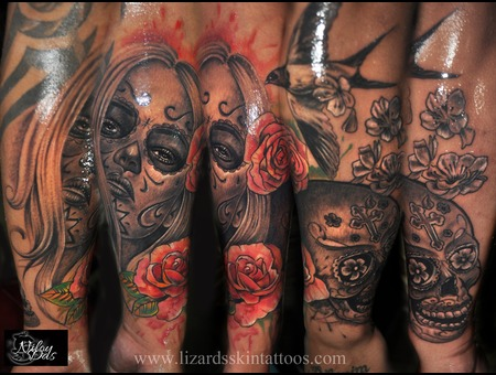 Day Of The Dead With Skull Color Forearm