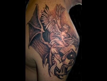 Angel Dragon Ying Yang Black Grey Shoulder