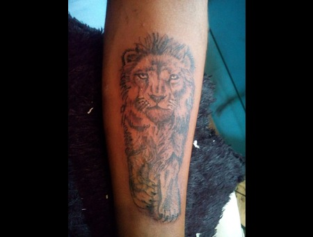 Lion Portrait Shaded Black Grey Forearm