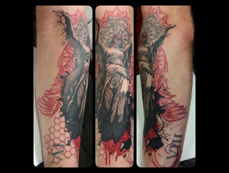 Angel  Angel Of Death  Abstract Graphical  Religious Color Forearm