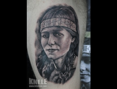 Portrait Girl Indian Tattoo Art
