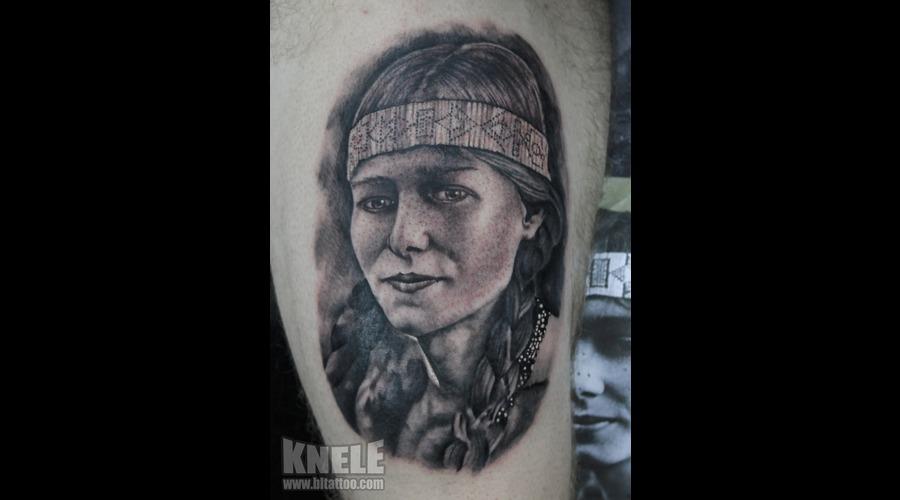 Portrait Girl Indian Tattoo Art