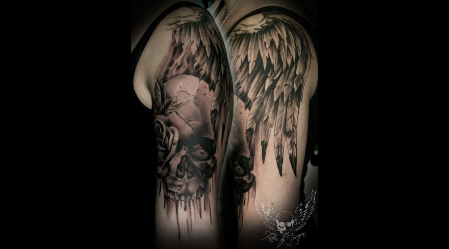 Black N Grey  Realistic  Tattoo  Austria  Jürgen Platzer  Black Grey Arm