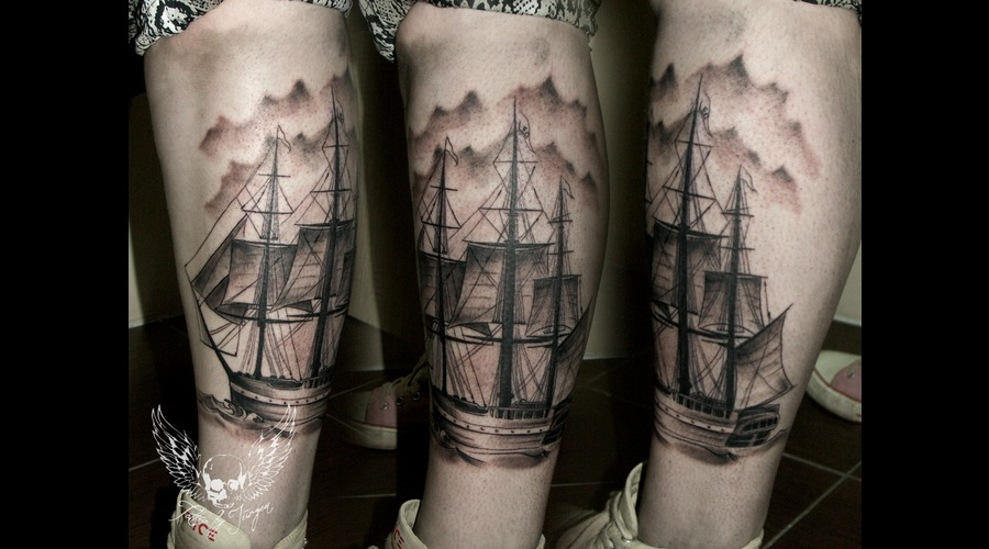 Black N Grey  Realistic  Tattoo  Austria  Jürgen Platzer  Black Grey Lower Leg