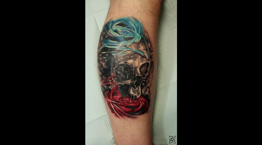 Tattooartist Montreal Gabor Zsil Color Lower Leg
