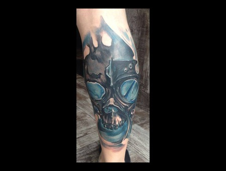 Skull  Mask  Gas Mask  Blue  Glass  Abstract Color Lower Leg