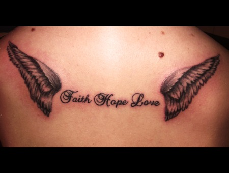 Script  Lettering  Wings Black Grey Back