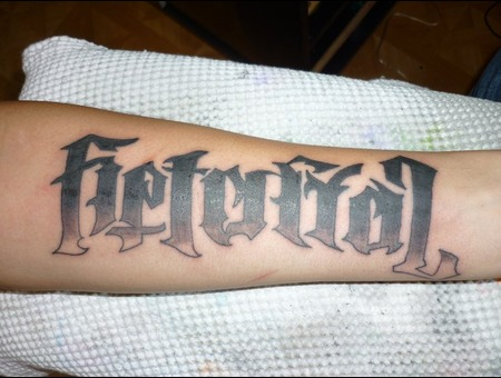 Illuminati  Betrayal  Loyalty  Lettering Black Grey Forearm