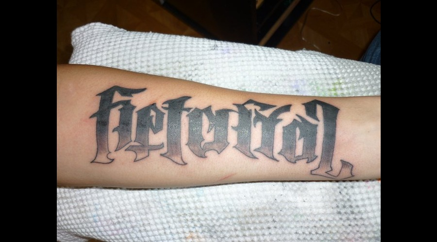 Illuminati  Betrayal  Loyalty  Lettering Black Grey Forearm