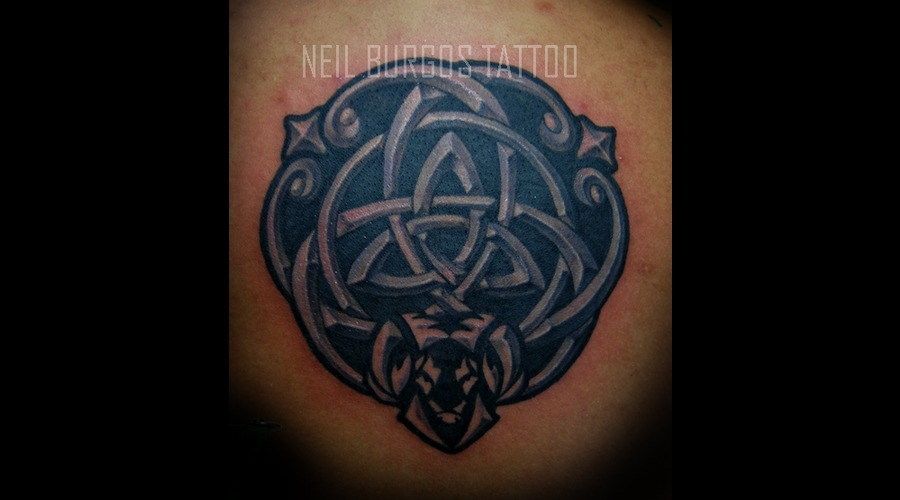 Triquetra  Charmed  Knot  Celtic  Neil Burgos Tattoo Black Grey Back
