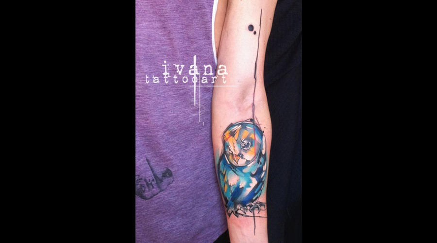 Watercolor Owl Color Forearm