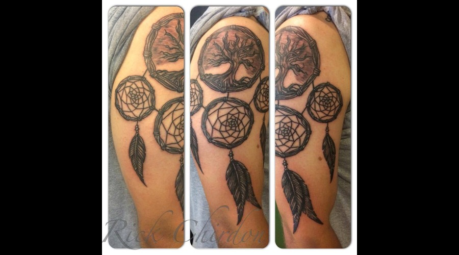 Dream Catcher  Tree Of Life  Feather   Black Grey Arm
