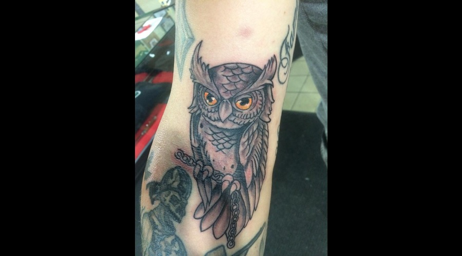 New School  Owl Black Grey Forearm