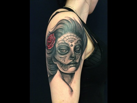 Calavera Santamuerte Black Grey Arm