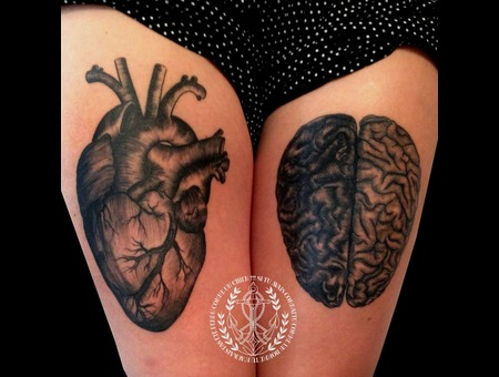 Heart  Brain  Illustration  Medecine Black Grey Thigh