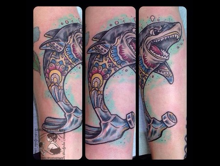 Shark  Traditional  Hammer  Neo Traditional  Custom Color Forearm