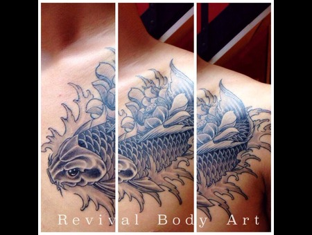 Koi Fish  Black & Grey  Lotus Black Grey Chest