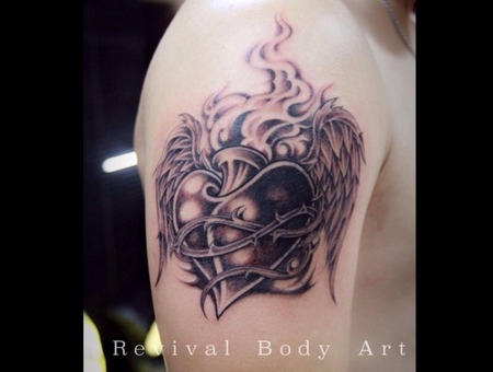 Cover Up  Heart With Wing Black Grey Arm