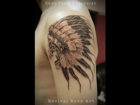 Skull  Feather  Black Grey Arm