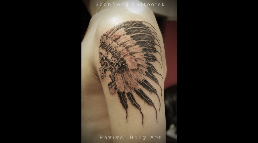 Skull  Feather  Black Grey Arm