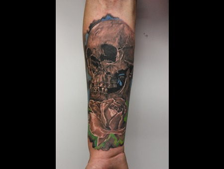 Skull  Rose  Flower  Realism Color Forearm