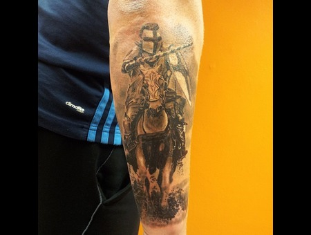 Knight  Horse Black Grey Forearm