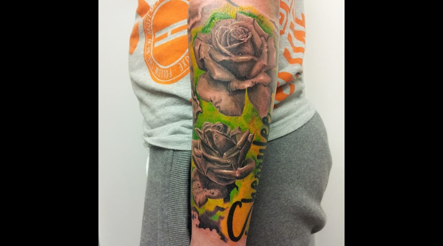 Roses  Lettering  Flowers Color Forearm