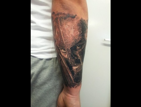 Face  Realism  300 Movie  Leonidas Black Grey Forearm