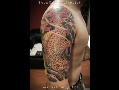 Dragon Koi Fish  Cover Up Color Arm