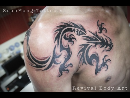 Tribal  Tribal Dragon  Black Grey Chest